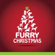 Cartoon Dogs And Cats Christmas Tree EPS 10 Vector