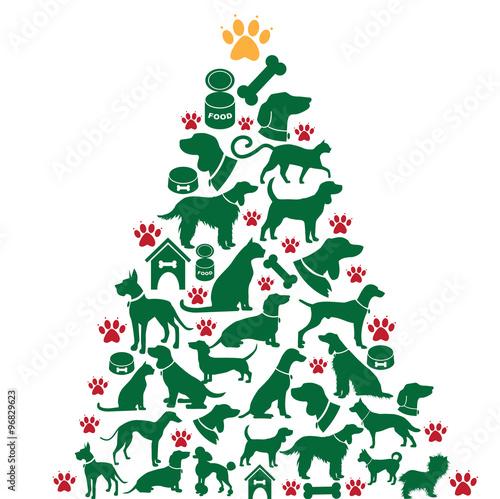furry christmas tree greeting card design eps 10 vector - Furry Christmas