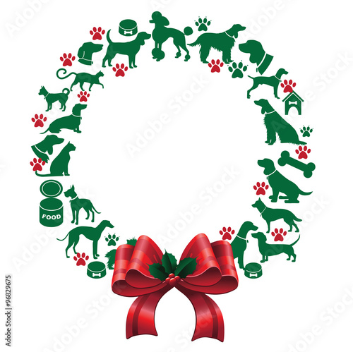 Cartoon Dogs And Cats Christmas Wreath Eps 10 Vector Buy This