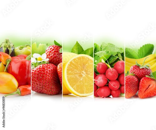 Naklejka na szybę fruit and vegetable stripe collection on white background