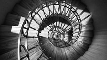 Wooden Spiral Stairs With Rail...