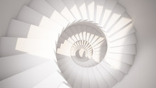White Spiral Stairs In Sun Light Abstract 3d Interior