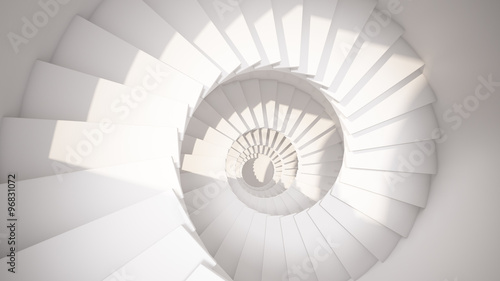 Foto auf Gartenposter Spirale White spiral stairs in sun light abstract 3d interior