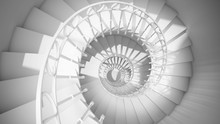 Dark Black And White Spiral Stairs With Rails In Sun Light Abstract 3d Interior