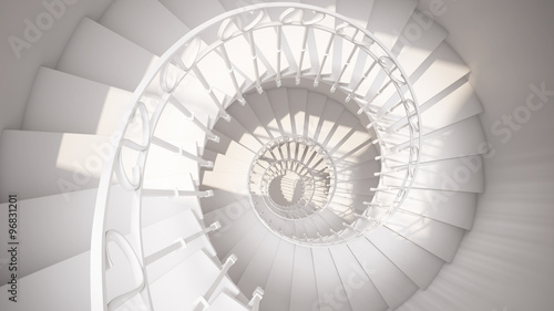 Valokuva  White spiral stairs with rails in sun light abstract 3d interior