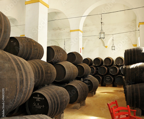 Inside a wine cellar, Sanlucar de Barrameda, Cadiz, Spain