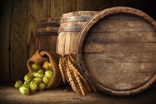 Beer Barrel With Beer Glasses ...