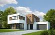 Leinwanddruck Bild - Haus Kubus mit Holzelementen