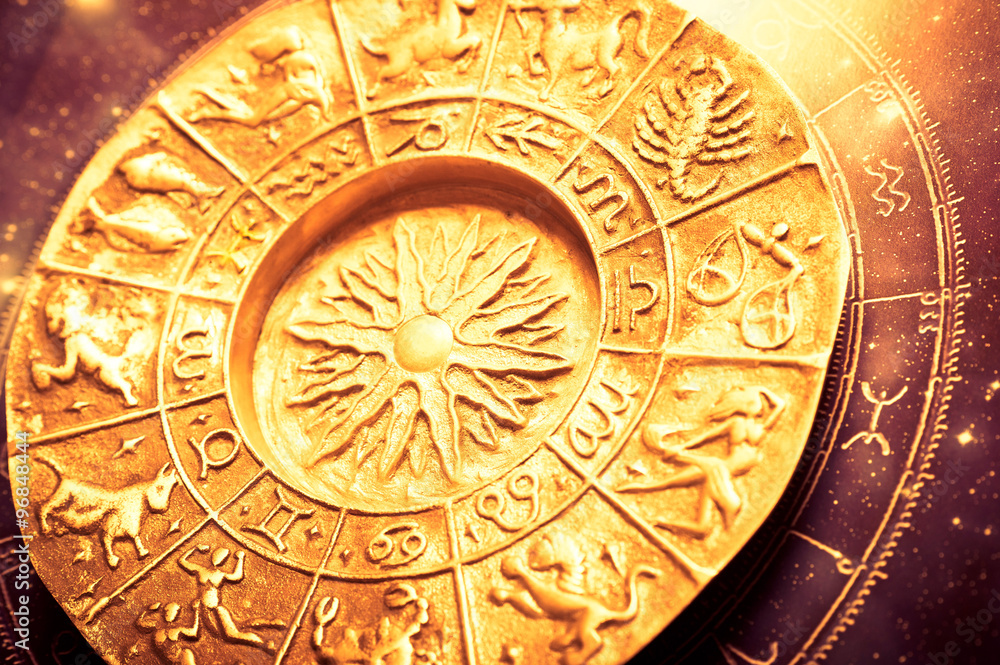 Fototapeta a golden zodiac plate with all signs