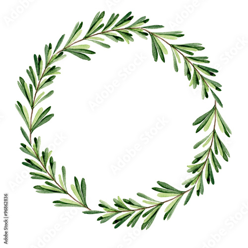 leaf wreath watercolor hand drawn buy this stock illustration