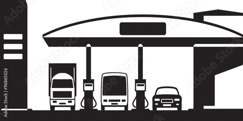 Fotografie, Obraz  Truck, bus and car at gas station - vector illustration