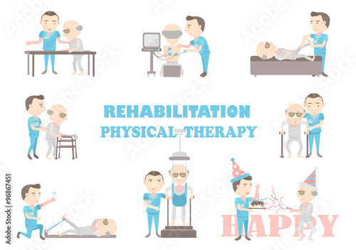 The Physical Therapy Is Working Caregivers Cartoon Vector Illustration Buy This Stock Vector And Explore Similar Vectors At Adobe Stock Adobe Stock