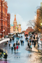 View Of The Red Square And St. Basil's Cathedral On A Winter Eve