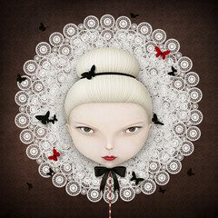 Conceptual illustration or poster with  face of  girl with  lace collar and butterfly