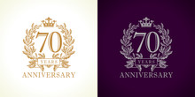 70 Anniversary Luxury Logo. Te...