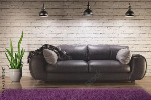 Fotografie, Obraz  Divano nero pelle soggiorno