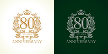 80 Anniversary Luxury Logo. Template Logo 80th Royal Anniversary With A Frame In The Form Of Laurel Branches And The Number Eighty.
