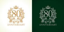 80 Anniversary Luxury Logo. Te...