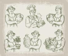 Hand Drawn Sketch Set Of Cook, Chef, Gardener And Farmer. Vector Illustration