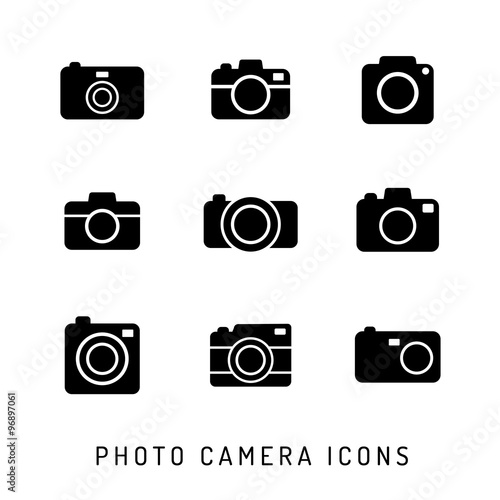 Fotografie, Obraz  Photo camera silhouettes icon set. Black icons.
