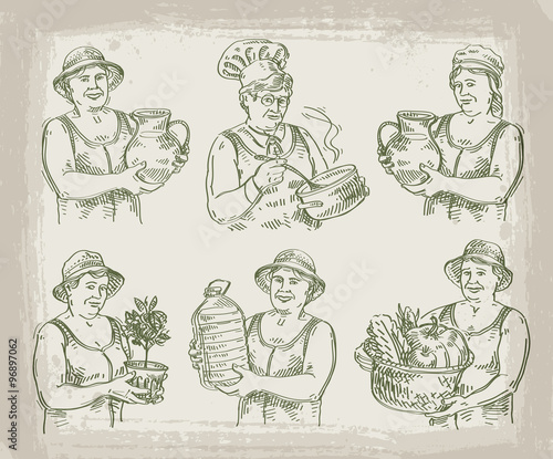 Hand Drawn Sketch Set Of Cook Chef Gardener And Farmer Vector