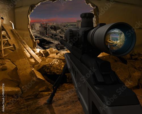 Fotografía  Sniper rifle on destroyed buildings background