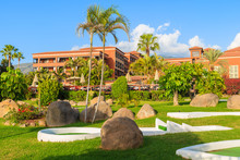 Tropical Gardens Of Luxury Hotel In Costa Adeje Town, Tenerife, Canary Islands, Spain