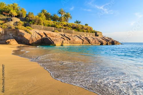 Ocean wave on tropical sandy El Duque beach in Costa Adeje, Tenerife, Canary Islands, Spain