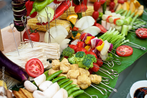 Canvas Prints Akt Fresh vegetable and skewers for BBQ on buffet restaurant