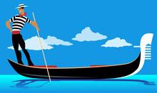 Cartoon Gondolier Rowing A Gondola, EPS 8 Vector Illustration, No Transparencies
