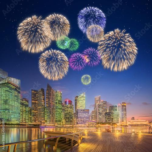 Beautiful fireworks in Marina Bay, Singapore Poster