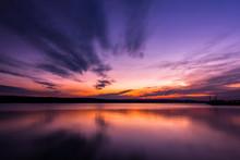 Dramatic Long Exposure Landscape Lake Sunset