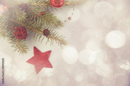 Fototapeta Weihnachten Hintergrund Bokeh rot gold obraz na płótnie