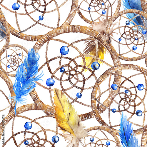 Cotton fabric Watercolor ethnic tribal hand made yellow blue feather dream catcher seamless pattern texture background