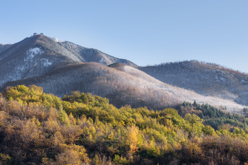 First snow on the Apennine Mountains, Italy.November 2015.