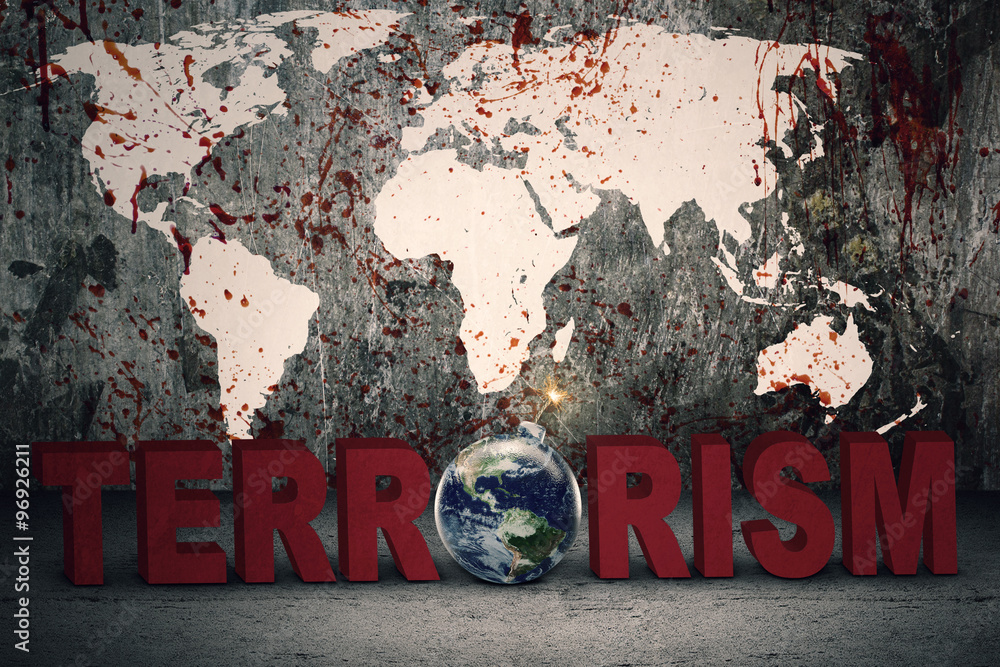 Fototapeta Bloody map with bomb and terrorism text