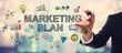 Leinwandbild Motiv Businessman drawing Marketing Plan concept