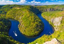 Vltava River Horseshoe Shape Meander From Maj Viewpoint, Nature Of Czech Republic