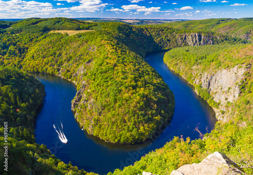Photo  Vltava river horseshoe shape meander from Maj viewpoint, nature of Czech Republi