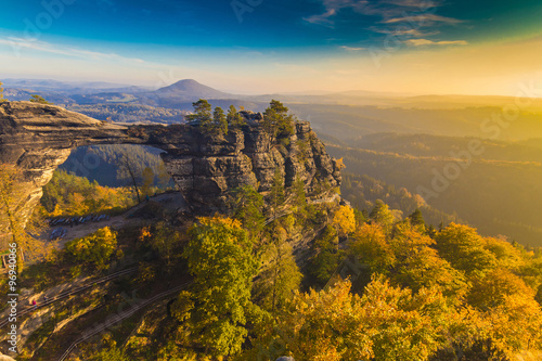 Photo  Pravcicka Gate in autumn colors, Bohemian Saxon Switzerland, Czech Republic