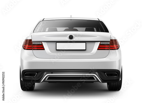 Stampa su Tela White sedan car - rear angle