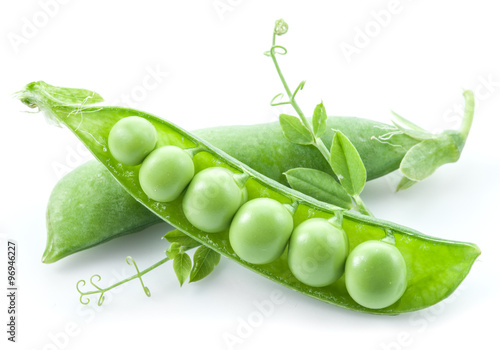 Fotografia Open pea pod on a white background.