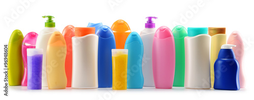 Fotografie, Obraz  Plastic bottles of body care and beauty products over white