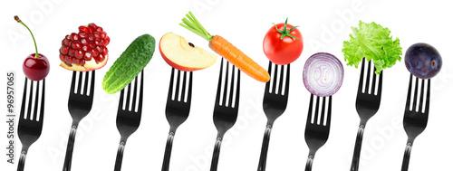 Printed kitchen splashbacks Fresh vegetables Fruits and vegetables on fork
