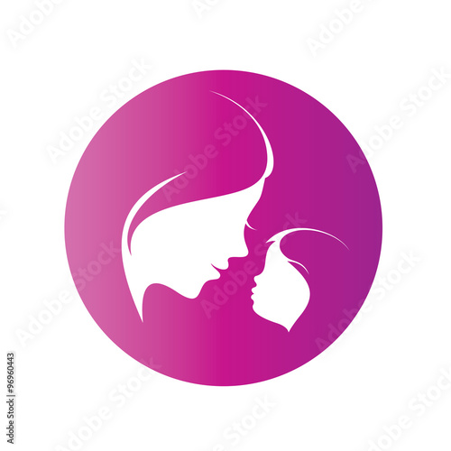Mother And Her Daughter Silhouette Isolated Vector Symbol Of Mo