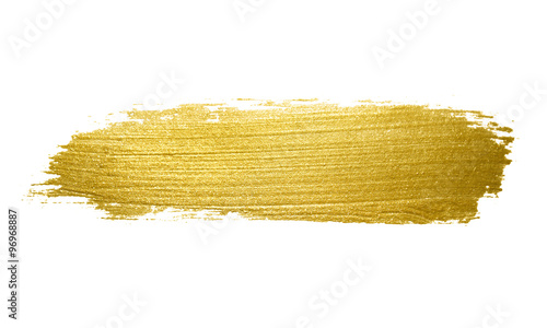 Gold paint brush stroke. Wallpaper Mural