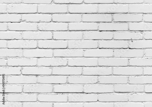 White brick wall, seamless background texture