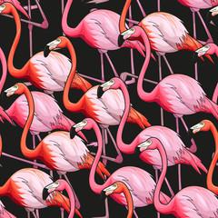 Panel Szklany Podświetlane Zwierzęta Colorful flamingo seamless background