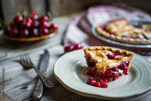 Homemade cherry pie on rustic background Wallpaper Mural
