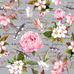 Fototapeta Peonie Peony flowers, sakura, feathers. Vintage seamless floral pattern with hand written letter. Watercolor